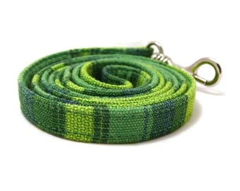 Green wide striped puppy or XS / S / puppy dog leash