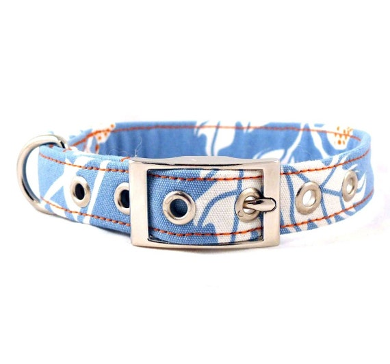 Sun among the clouds - blue and orange adjustable dog collar with metal buckle