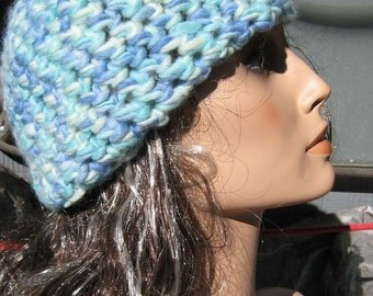 Hand Crocheted Knit Wool Unisex Hat/Beanie-Shades of Blue
