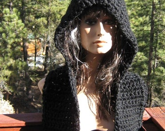 Black Magic Hooded Scarf/Scoodie  Hand Crocheted Knit Wool Blend Chunky