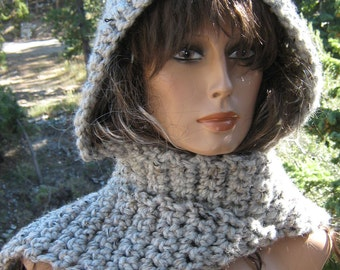 Dabbled Grays Hooded Scarf/Scoodie Thick Chunky Wool Blend