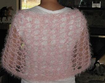 Spun Sugar Glittery Pink CrochetedKnit Vegan  Shawl/Wrap