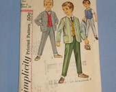 Darling 1960s Boys Jacket Pants Suit Sewing Pattern Simplicity 4836 Size 6