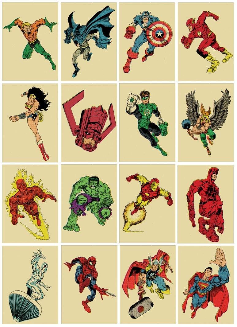 Sixteen 8x10 comic book superhero vintage style by teamwelser - Poster super heros ...