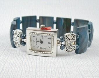Beaded Stretchy Bracelet Watch - Teal Shell and Swarovski Crystal Stretchy Watch