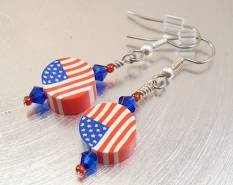 Beaded American Flag Dangle Earrings