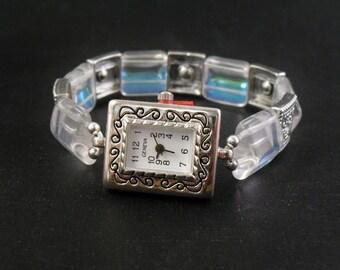 Aurora Borealis Czech Glass Stretchy Bracelet Watch with Swarovski Crystal Accents
