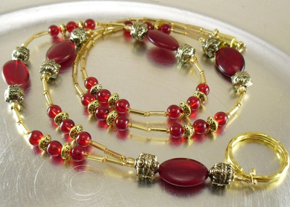 ID Badge Necklace, Badge Holder, Eyeglass Holder - Red Glass and Gold Glass