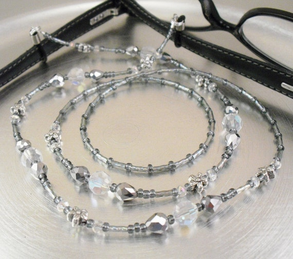 Eyeglass Leash, Glasses Holder Eyeglass Lanyard - Aurora Borealis Crystal Glass, Silver and Grey Glass with Flower Accents