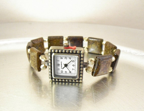 Bronzite and Faceted Pale Gold Czech Glass Stretchy Wrist Watch