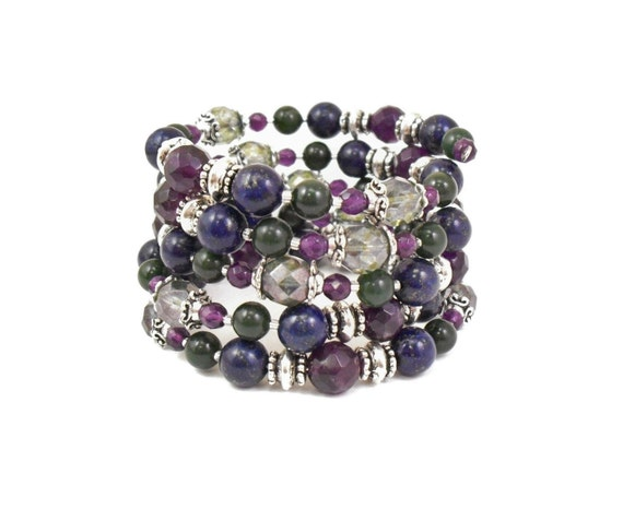 Bold Memory Wire Bracelet - Blue Lapis, Amethyst, Green Jade and Czech Glass