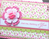 Sweet Pink Garden - Handmade Thinking of You Card with Matching Embellished Envelope