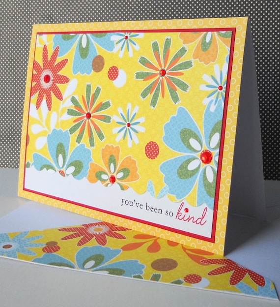 Thank You Card with Matching Embellished Envelope - Summer Garden