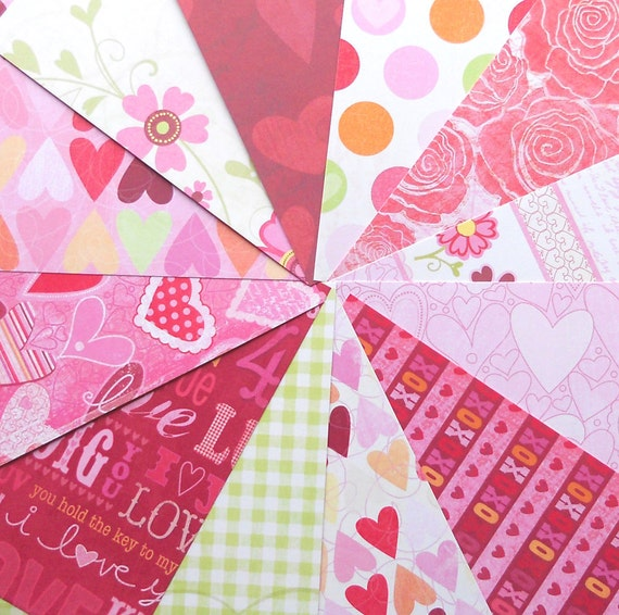 DESTASH - KandCompany: Kelly Panacci Valentine - Pack of 12 Different Double-Sided Scrapbook Papers, 6 inch X 6 inch
