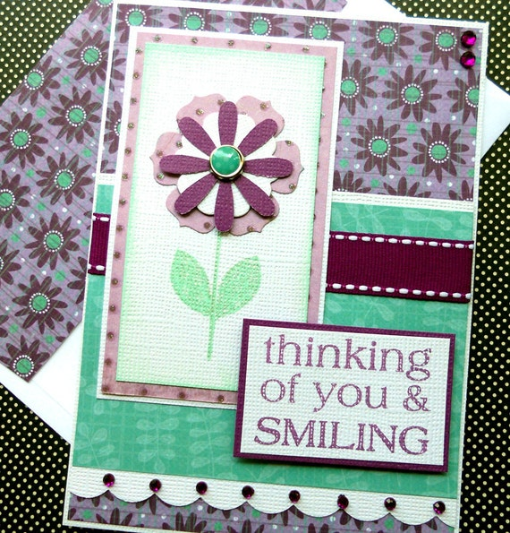 Thinking of You Card with Matching Embellished Envelope - Daisy Day