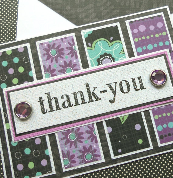Thank You Card with Matching Embellished Envelope - Black Lilac