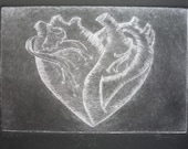 Anatomical Heart Thump Intaglio Handpulled Drypoint Limited Edition 2 of 25