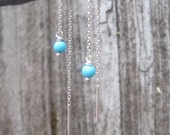 Delicate Threaders-  Sterling silver and Turquoise Chain earrings