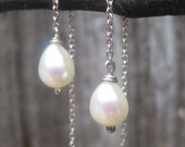 Delicate Threaders Sterling Silver and Pearl Chain Earrings