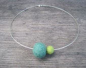 Michelle Collection - Sterling silver necklace with green handmade felt  balls