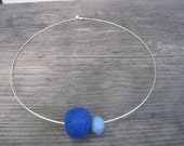 Michelle Collection - Sterling silver neck wire with handmade blue felt balls