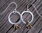 Skye Collection - Sterling silver hammered hoop earrings with brown Pearls