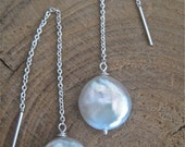 Delicate Threaders - Luminous Pearl sterling silver chain earrings