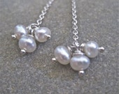 Delicate Threaders - Pearl and sterling silver chain earrings