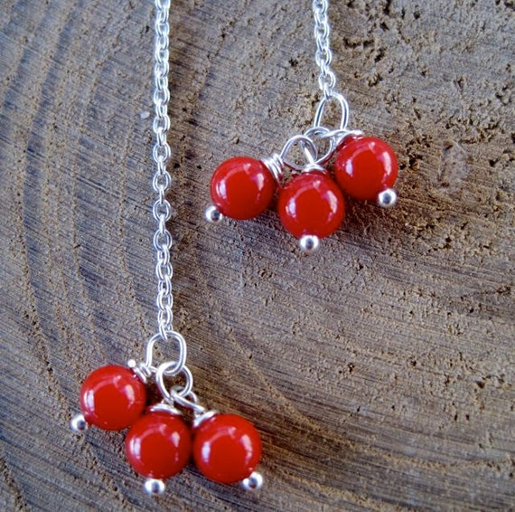 Delicate Threaders - Sterling Silver and Coral Chain Earrings