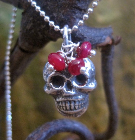 Sterling Silver Skull Necklace with Rubies