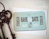 Wedding Retro Vintage Ticket Stub Save The Date Postcard, Vintage Wedding