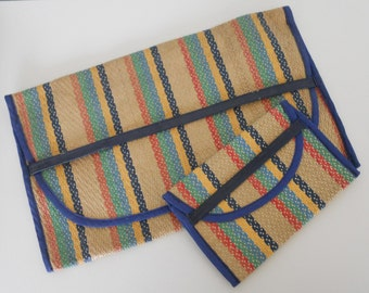 WOVEN PAIR CLUTCHES- vintage 1960s, rainbow stripes, straw, cloth and vinyl