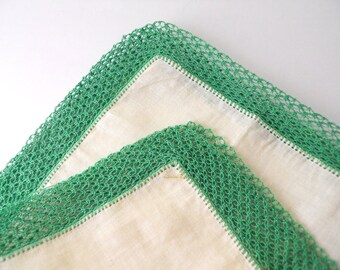 Crocheted Lace- Emerald Green edges, hankie
