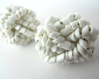 VINTAGE 1950's Diagonal cut, beaded, clip-on earrings