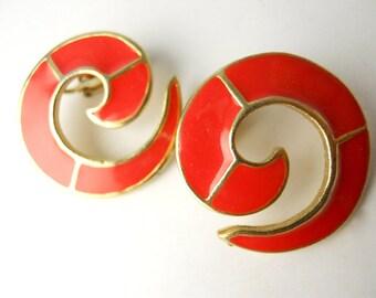 1980s CLIP-ON Office Chic, Rams-Horns earrings