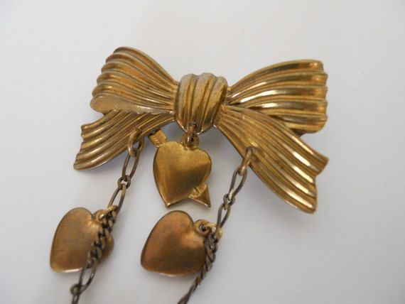 RESERVED MERMAID124- Bow and Raining Hearts Pin- 1980s
