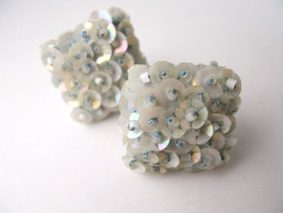 VINTAGE SEQUINS SCREW-back, square shaped, party earrings