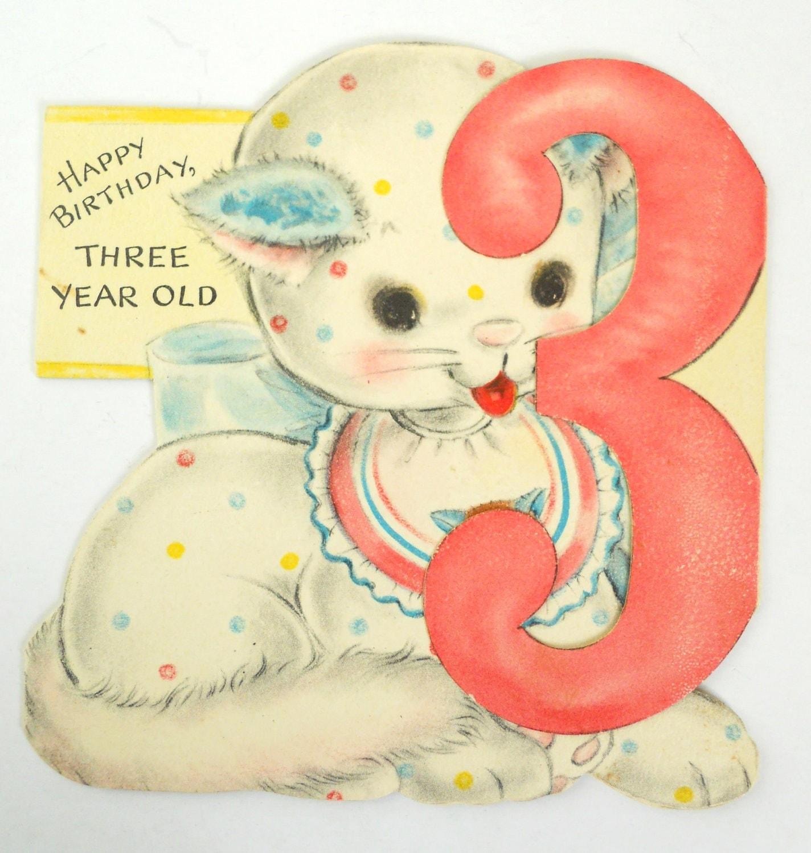 1950s Kitten 3 Year Old's Birthday Card