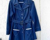 SALE - Vintage 70s Mod Navy Belted Jacket - M-L
