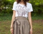 High waisted full skirt with tie belt and pockets - Size S