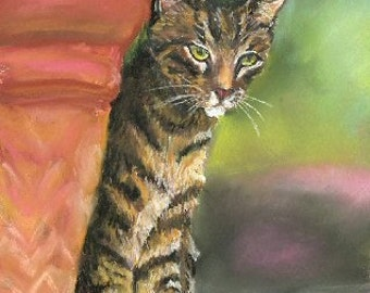 "Brown Tabby Cat Art Print 8"" x 10"" of my watercolor painting"
