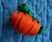 Plump Pumpkin Ribbon Sculpture Hair Clip. Great for Fall, Harvest, Halloween and Thanksgiving