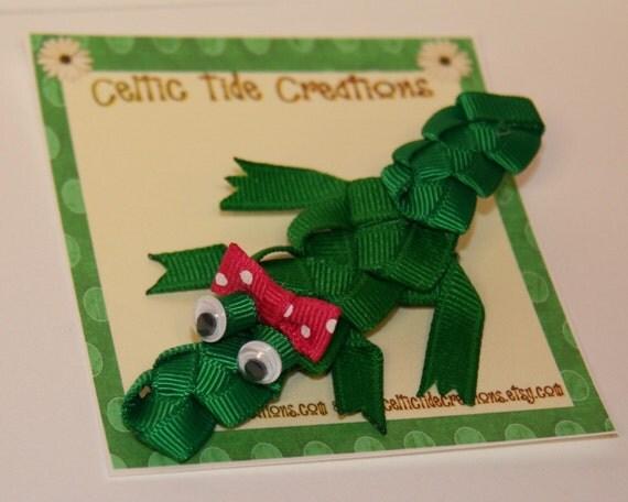 Boutique Preppy Alligator or Crocodile Ribbon Sculpture Hair Clip