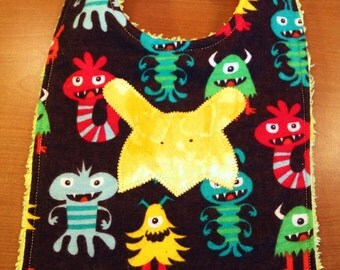 Baby Bib - Monster Applique and Multi-color Monster Theme  - Gender Neutral - Flannel and Chenille