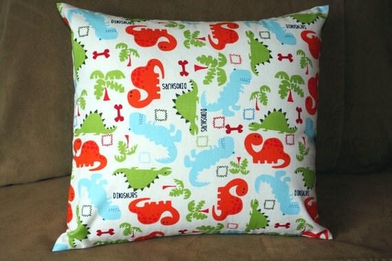 SALE - Dinosaur Pillow - Removable Cover - 14 x 14