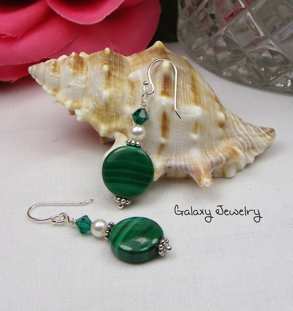 Malachite / Swarovski Crystals and Pearl Earrings
