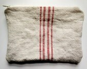 zipper pouch made from vintage linen grain sacks with red stripes, from Europe (no.1)