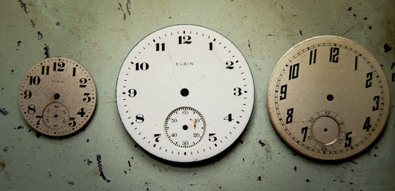vintage watch faces with great patina and numerals, one enamel, 3 total (set no. 10)