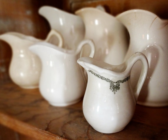 vintage ironstone pitcher by Albert Pick & Co, cute small size with greek border pattern
