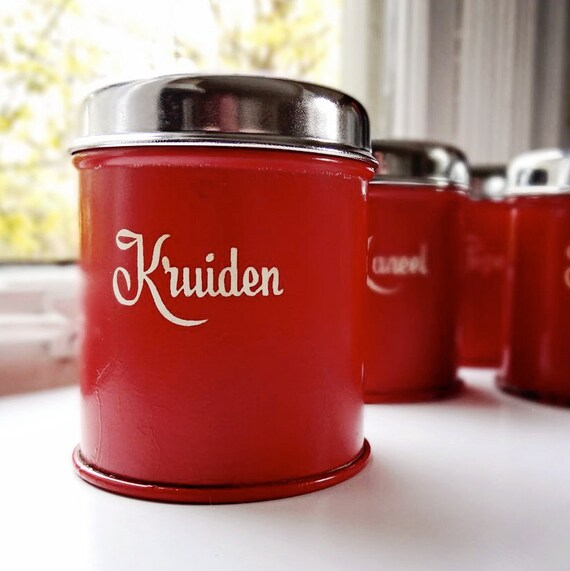 vintage Dutch canister set, four small spice tins, cherry red color with metal lids